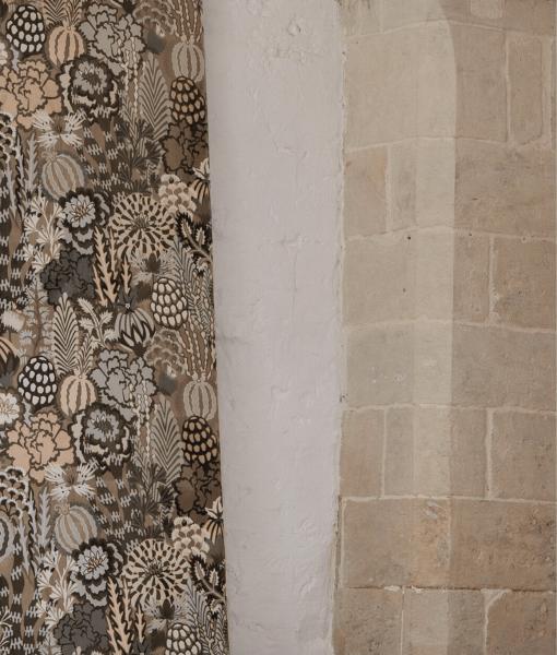 Samt Vorhang Curious Wonderland mit Natur Muster/Retro I blickdicht I nach Maß I Skandi-Living