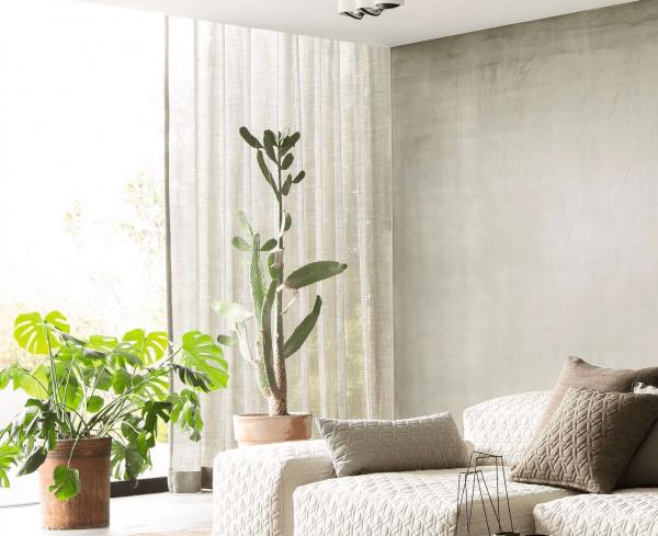 Vorhang Design Endless Ocean mit Struktur halbtransparent I Naturtöne Skandi Living i auf Maß