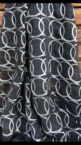 Moderner Vorhang Plot mit eleganten Kreisen I halbtransparent I Kupfer, Schwarz, Creme, Weiß