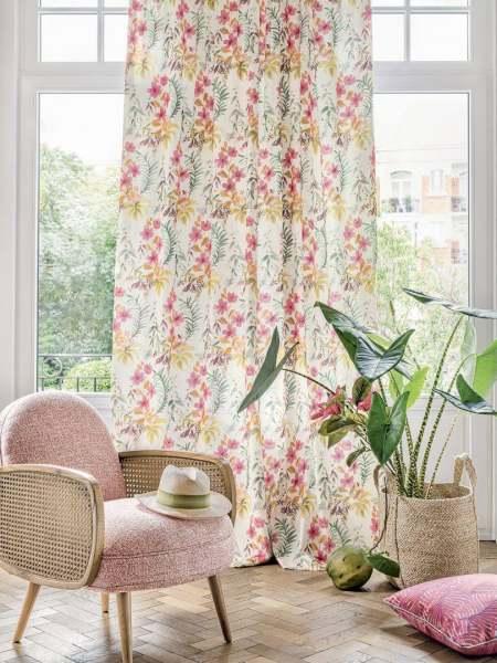 Vorhang Tiare mit floralem Druck I Blumen 100% Cotton I Pastell Skandi Living/Landhaus