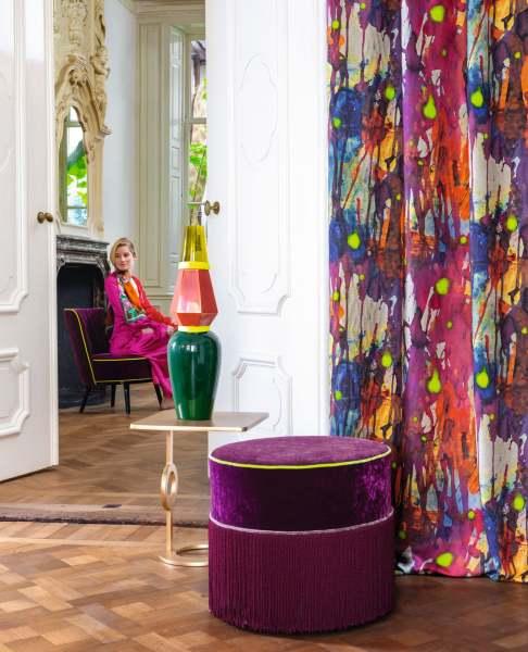 Aufgefallener Vorhang Colorclash I Malerei mit Neonakzenten/kräftigen Farben I Jedes Wunschmaß