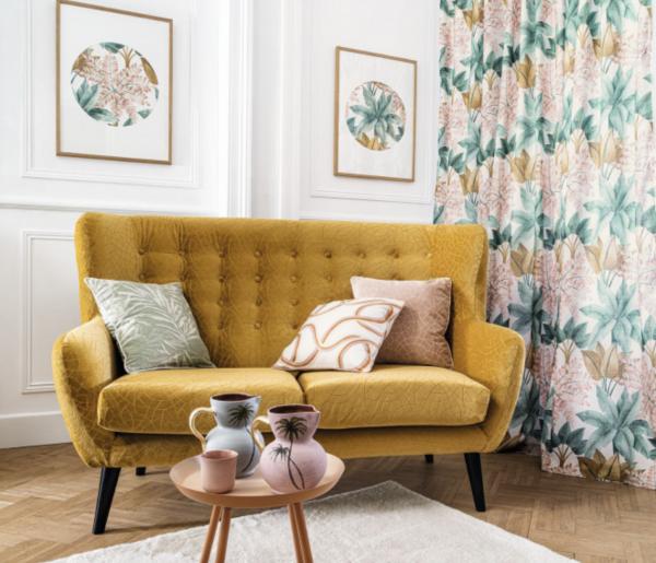 Vorhang Pantantal mit frischem Blumenmuster/Print für Schienen& Stangen I Camengo Paris