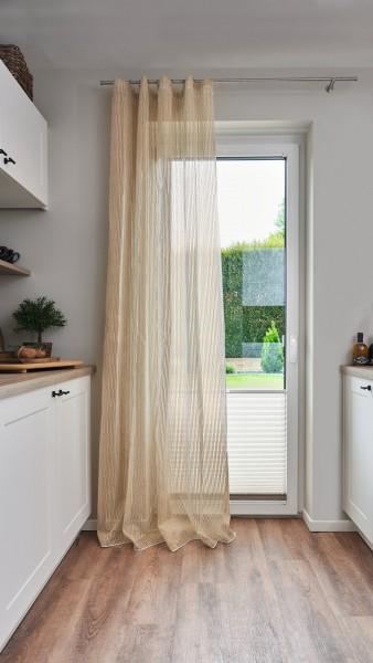 Vorhang Frost mit dezenten Streifen I 140x245 I für Stange, Gleiter oder Haken I 1 Stück