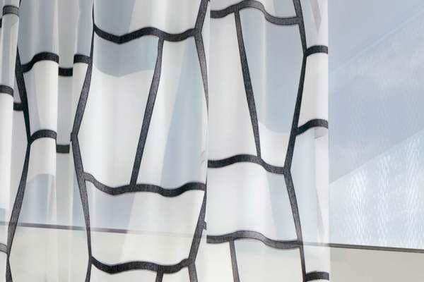 Design Vorhang Off Beat I modernes Grafik Muster I schwarz-weiß, weiß-weiß, weiß-beige