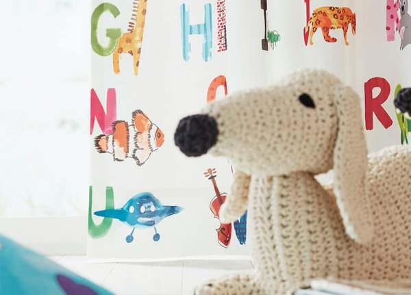 Vorhang ABC mit Kindermotiv ABC I blickdicht I Junge+Mädchen Kinderzimmer I auf Maß