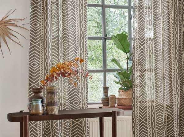 Vorhang Sambesi Afrikanisches Muster mit Leinenanteil blickdicht I Hygge/ mediterranes Landhaus