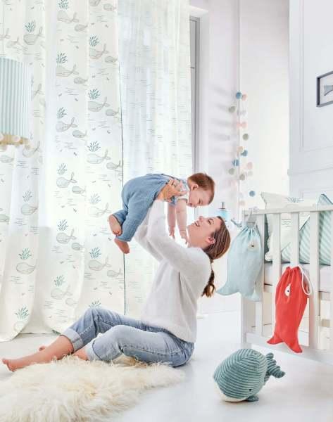 Vorhang Tom Leo Kinderzimmer I weiß mit Walen I Stickerei I Farbe: weiß/grau/blau