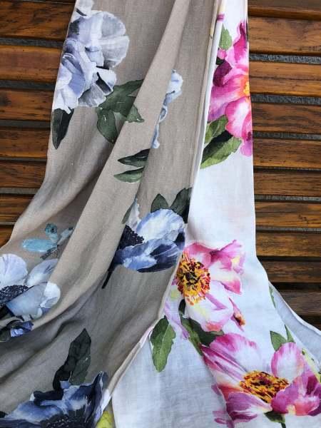 Leinen Vorhang Flower Rain I florales Muster auf luftig leichter Leinen Qualität auf Wunschmaß