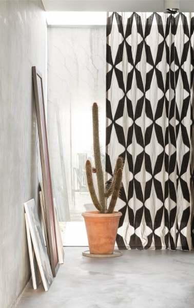 Vorhang Super Scale I Modernes Design Grafisches Muster schwarz-natur Leinen