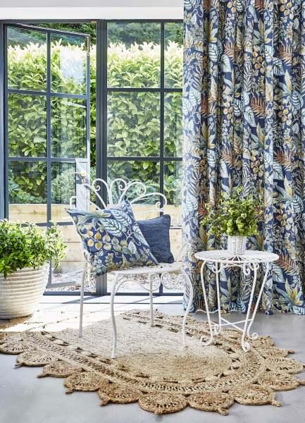 Vorhang Paloma Tropic I 100% Baumwolle mit floralem/Blättermuster für Schienen& Stangen