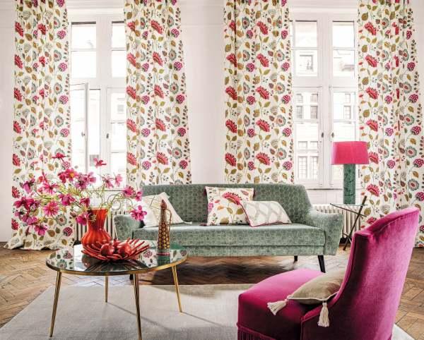 Vorhang Mila mit einzigartiger Floraler Stickerei Blumen Landhaus I Camengo Paris