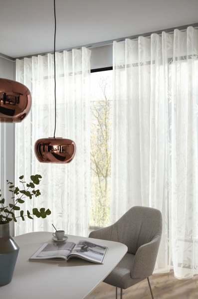 Vorhang Franka Ausbrenner Floral/Blätter weiß transparent I + Wellenvorhang