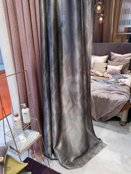 Design Vorhang Zoom I Modernes Grafisches Muster I halbtransparent I grau, beige, rose, grün