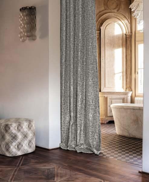 Vorhang Kind moderne Strickoptik mit luxuriösem Glanz/Metallic I blickdicht I silber, beige, grau
