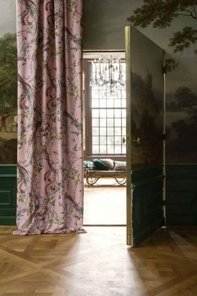 Vorhang Design Avventura Halbleinen mit Vögeln/Blumen Urban Jungle Trend I rosa/natur Carlucci