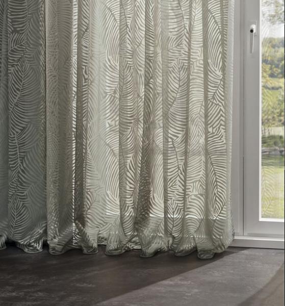 Vorhang Joshie Ausbrenner halbtransparent mit modernem Blättermuster weiß/grün/beige
