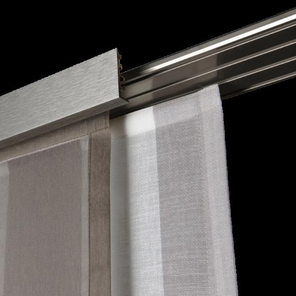 Flächenvorhangschiene 5-/6-läufig Aluminium I inkl. Paneelwagen I Wandmontage