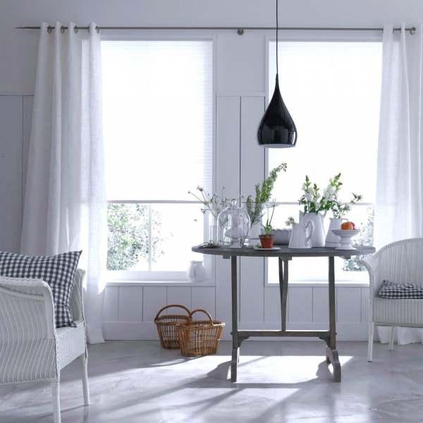 Vorhang Gwendolyn Leinenmischung halbtransparent I weiß,beige, grau Skandi Living auf Maß