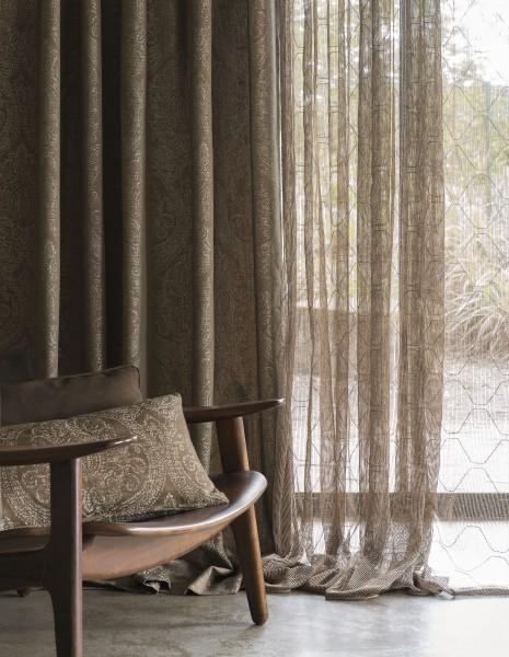 Vorhang Peak Uni halbtransparent I modernes leichtes Drehergewebe mit Grafik Muster 1 Stück von Jab